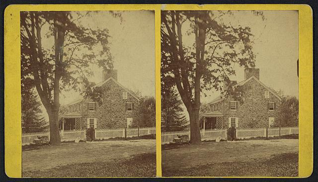 Stereograph of D. Gualt's(?) house at Birmingham, Chester Co., Penn.