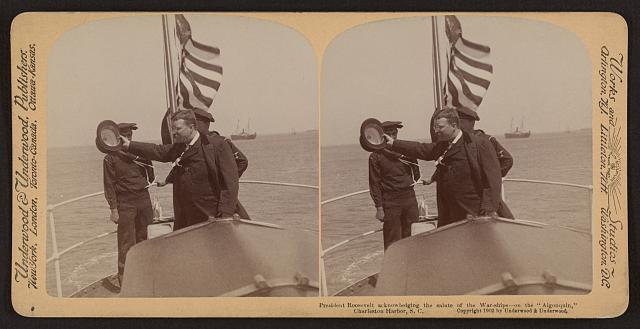 "President Roosevelt acknowledging the salute of the war-ships - on the ""Algonquin,"" Charleston Harbor, S.C."