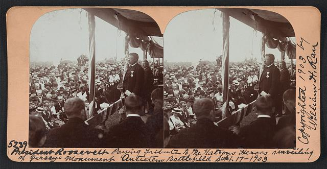 President Roosevelt paying tribute to the nations heroes unveiling of Jersey's monument, Antietam Battlefield, Sept. 17, 1903