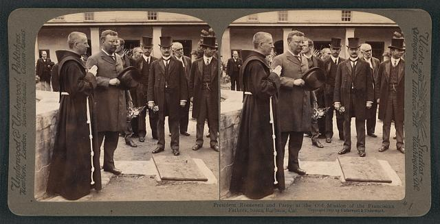 President Roosevelt  and party at the Old Mission of the Franciscan Fathers, Santa Barbara, Cal.