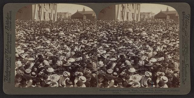 Massed thousands at Seattle, Wash., to hear Pres. Roosevelt on Alaska's future