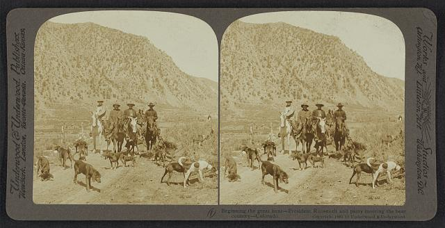Beginning the great hunt - President Roosevelt and party entering bear country - Colorado