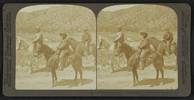 President Roosevelt, Dr. Lambert and P.B. Stewart starting into the bear country - Colorado