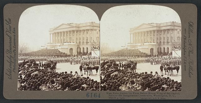 West Point cadets on plaza before House wing of the Capitol, prior to the inauguration ceremonies, Washington, D.C., March 4, 1905