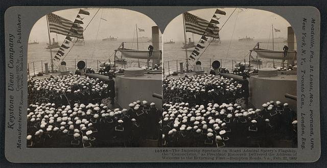 "The imposing spectacle on board Admiral Sperry's flagship, the ""Connecticut,"" as President Roosevelt delivered the address of welcome to the returning fleet - Hampton Roads, Va., Feb. 22, 1909"