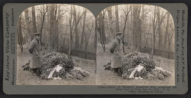 Grave of Theodore Roosevelt who answered the final call of taps Jan. 6, 1919. U.S. officer standing at guard