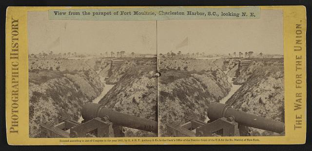 View from the parapet of Fort Moultrie, Charleston Harbor (i.e. Sullivan's Island), S.C., looking N.E.
