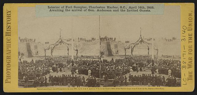 Interior of Fort Sumpter (i.e. Sumter), Charleston Harbor, S.C., April 14th, 1865. Awaiting the arrival of Gen. Anderson and the invited guests