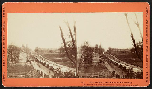 First wagon train entering Petersburg