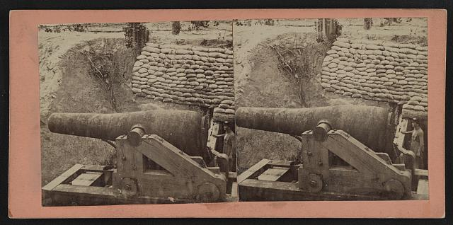 Ten Inch Columbiad, and Magazine Entrance, Sand Bag Revertment (i.e. revetment), Battery Dantzler, (Howlett's) on James River