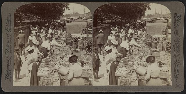Fruits of the sunny south and their buyers, in famous old Centre Market [i.e. Center Market], Washington, U.S.A.
