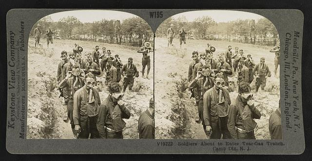 Soldiers about to enter tear-gas trench, Camp Dix, N.J.