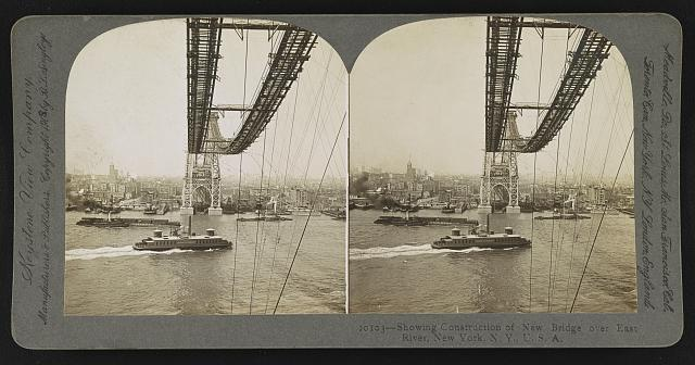 Showing construction of new bridge over East River, New York, N.Y., U.S.A. [Williamsburg Bridge]