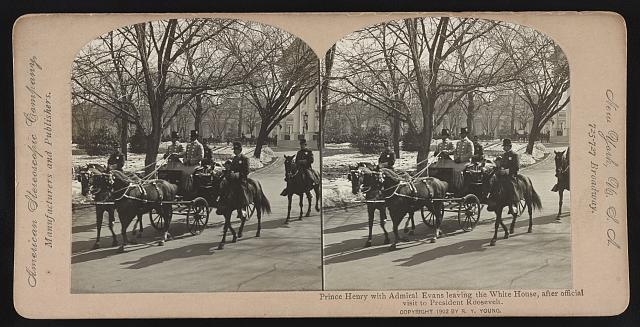 Prince Henry with Admiral Evans leaving the White House [in horse-drawn carriage], after official visit to President Roosevelt