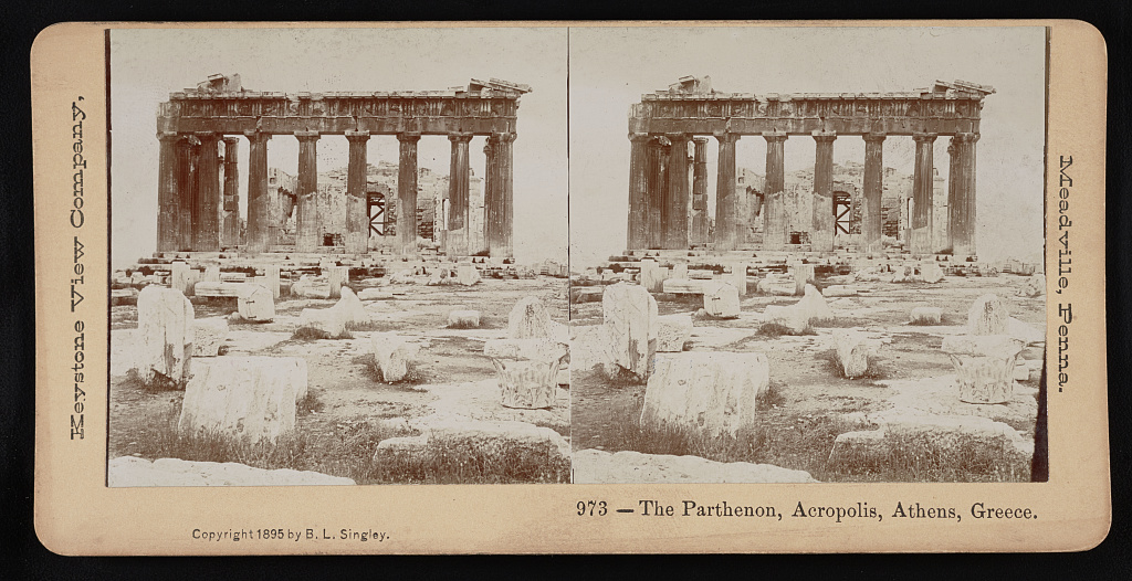 Keystone Stereoview of The Parthenon Athens Greece From 600//1200 Card Set #688