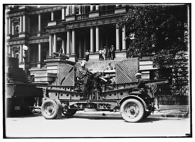 Miscellaneous subjects. Armored vehicles in front of Old Executive Office Building I