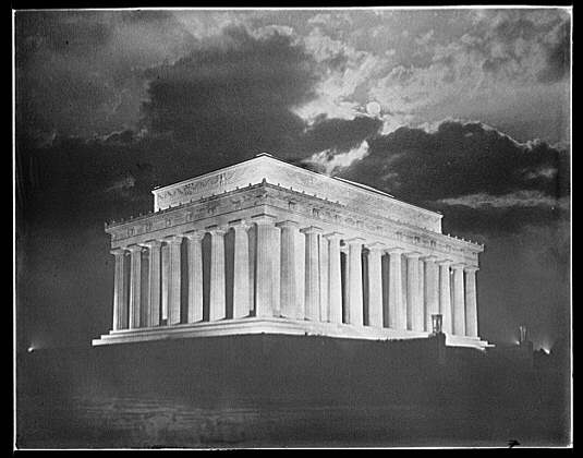 Lincoln Memorial. Night view of Lincoln Memorial showing clouds and moon