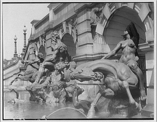 Statues and sculpture. Figures in fountain at the Library of Congress