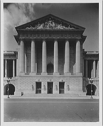 U.S. Customs Service, Departmental Auditorium, and the Interstate Commerce Commission Building. Portico and entrance of U.S. Customs Service, Departmental Auditorium, and the Interstate Commerce Commission Building on Constitution Ave. I