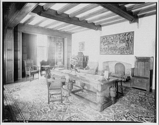 Folger Library interiors. Mrs. Folger's room looking from southeast to northwest