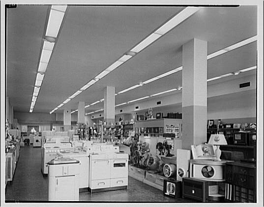 Potomac Electric Power Co. air conditioning and lighting. Interior of Dowd's Chevy Chase Radio, 4418 Connecticut Ave.