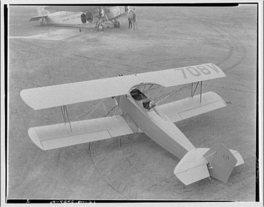 National Aeronautic Association of the United States of America. Elevated view of biplane