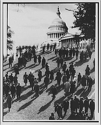 U.S. Capitol. Photographic montage of people walking to  U.S. Capitol
