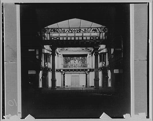 Folger Library interiors. Theater at Folger Library from rear looking to stage II