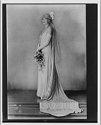 Mrs. Guy D. Goff. Portrait of Mrs. Goff in formal gown, standing