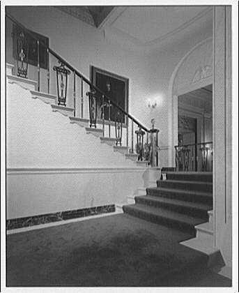 White House interiors. Carpeted stairway in White House I