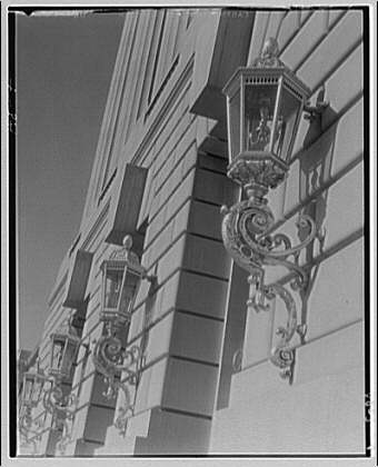 U.S. Customs Service, Departmental Auditorium, and the Interstate Commerce Commission Building. Lamp on entrance to Departmental Auditorium
