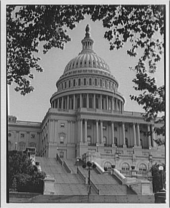 U.S. Capitol exteriors. Stairs and dome of U.S. Capitol, west side