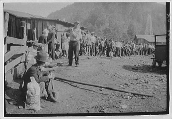 Striking miners drawing rations, West Virginia. Miners ration line II
