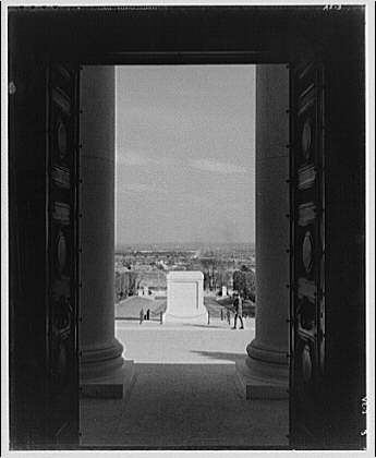 Arlington National Cemetery. Tomb of the Unknown Soldier and sentry through door of ampitheater