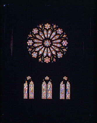National Cathedral. Rose window at National Cathedral above three smaller arched windows