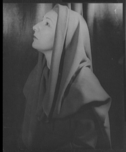 "[Portrait of Judith Anderson draped as a nun(?) in veils, in ""Family portrait""]"