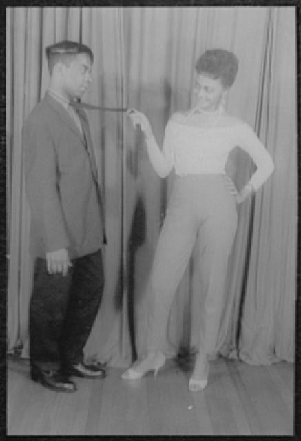 """[Portrait of Ethel Ayler and Melvin Stewart, as Zirata and Simple (respectively) in """"Simply heavenly"""" by Langston Hughes]"""