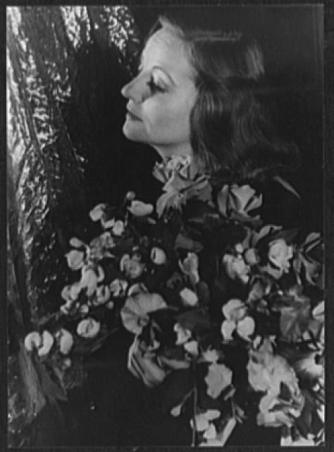 [Portrait of Tallulah Bankhead holding floral bouquet with foliage backdrop]
