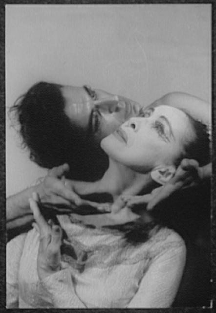 "[Portrait of Martha Graham and Bertram Ross, faces touching, in ""Visionary recital""]"
