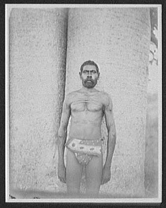 Kings [sic] Sound - aborigine man in loin-cloth, with chest and arms covered with ritual scars