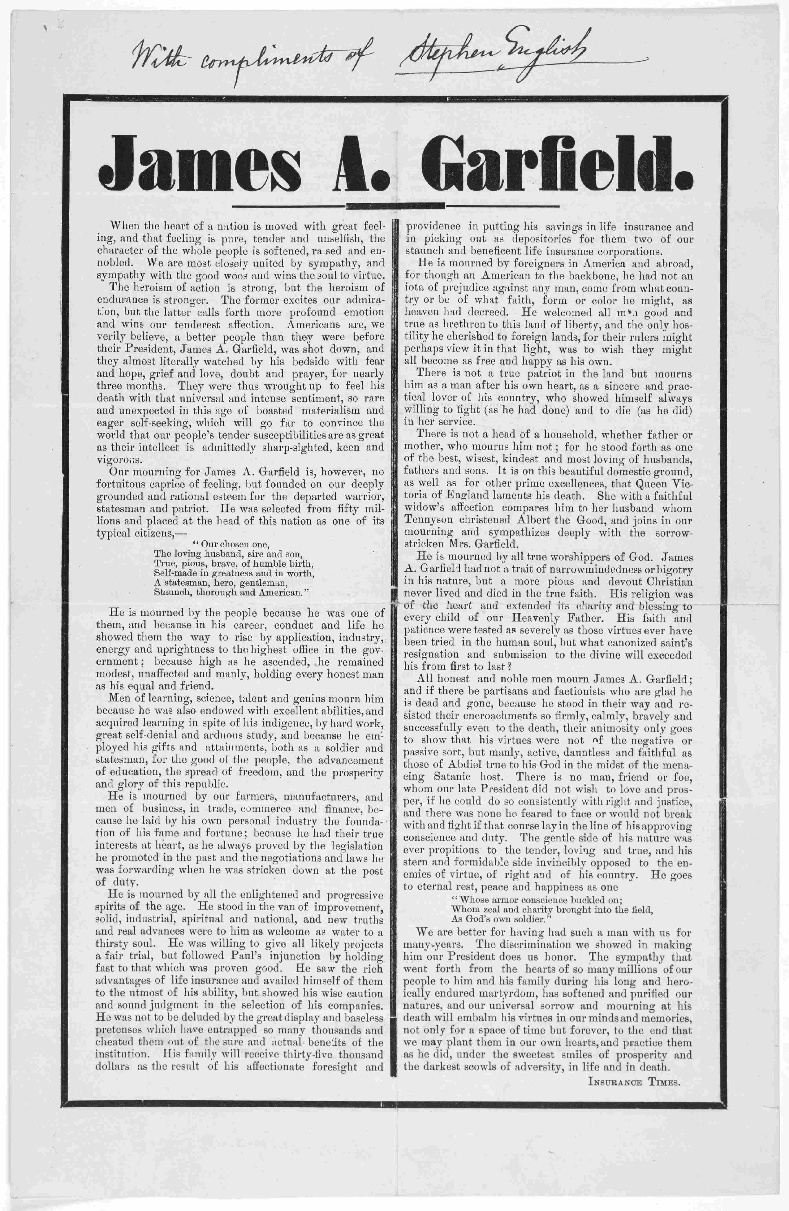 Search Results For Printed Ephemera Three Centuries Of Broadsides And Other Printed Ephemera James Garfield Available Online Library Of Congress