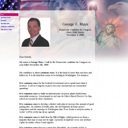 Official Campaign Web Site - George F. Mays
