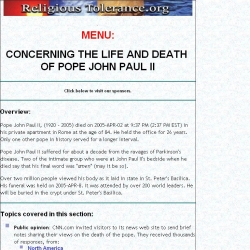 Concerning the death of Pope John Paul II