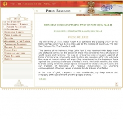 President of India : Press Releases : Details