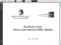 The Darfur Crisis : African and American Public Opinion