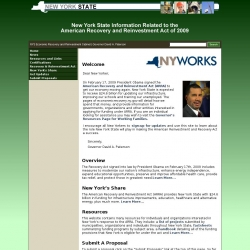 New York State Information Related to the American Recovery and Reinvestment Act of 2009