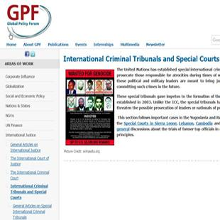 Global Policy Forum International Criminal Tribunals and Special Courts